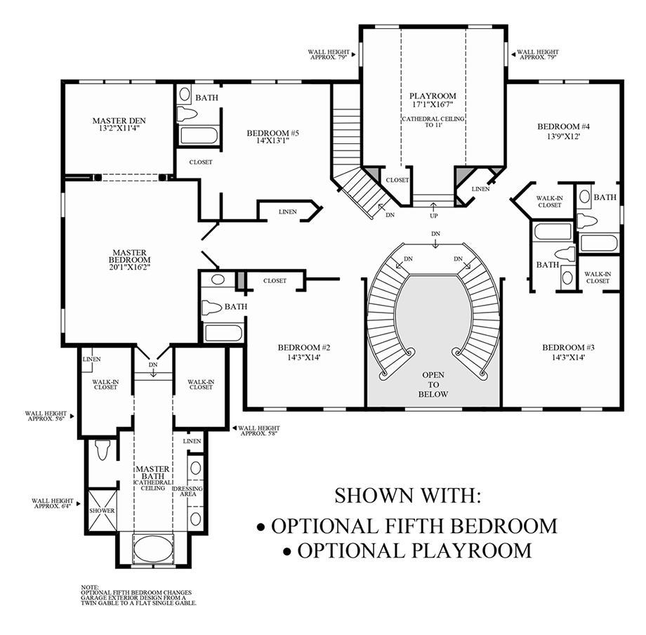 Optional 5th Bedroom/Playroom Floor Plan