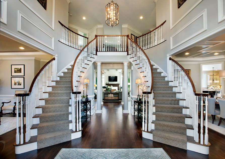 Dual staircase home floor plans joy studio design for 2 story spiral staircase