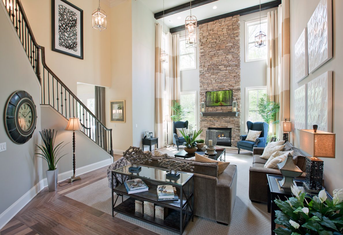Stunning two-story great room with rear staircase
