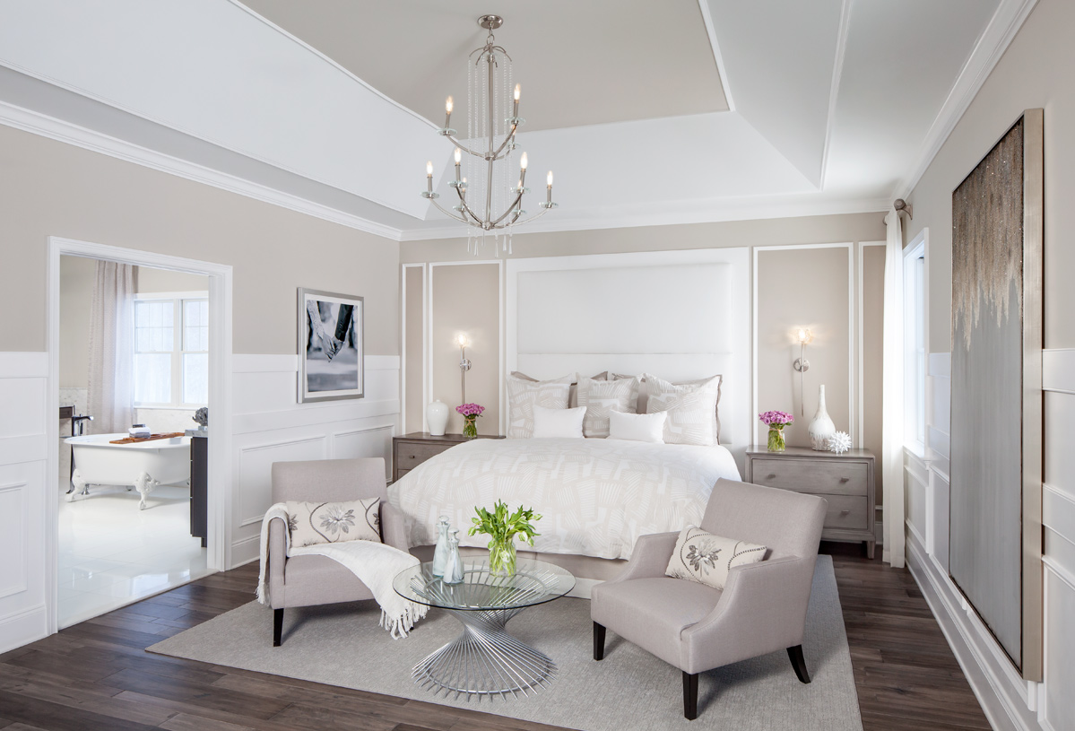 A peaceful primary bedroom suite for rest and relaxation