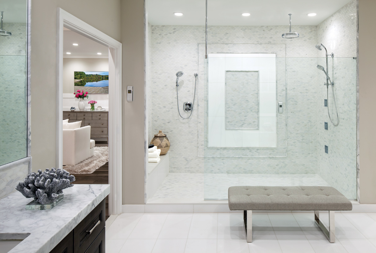 Top-rated Kohler fixtures included, plus options for indulgent enhancements like the DTV+ Digital Showering Experience