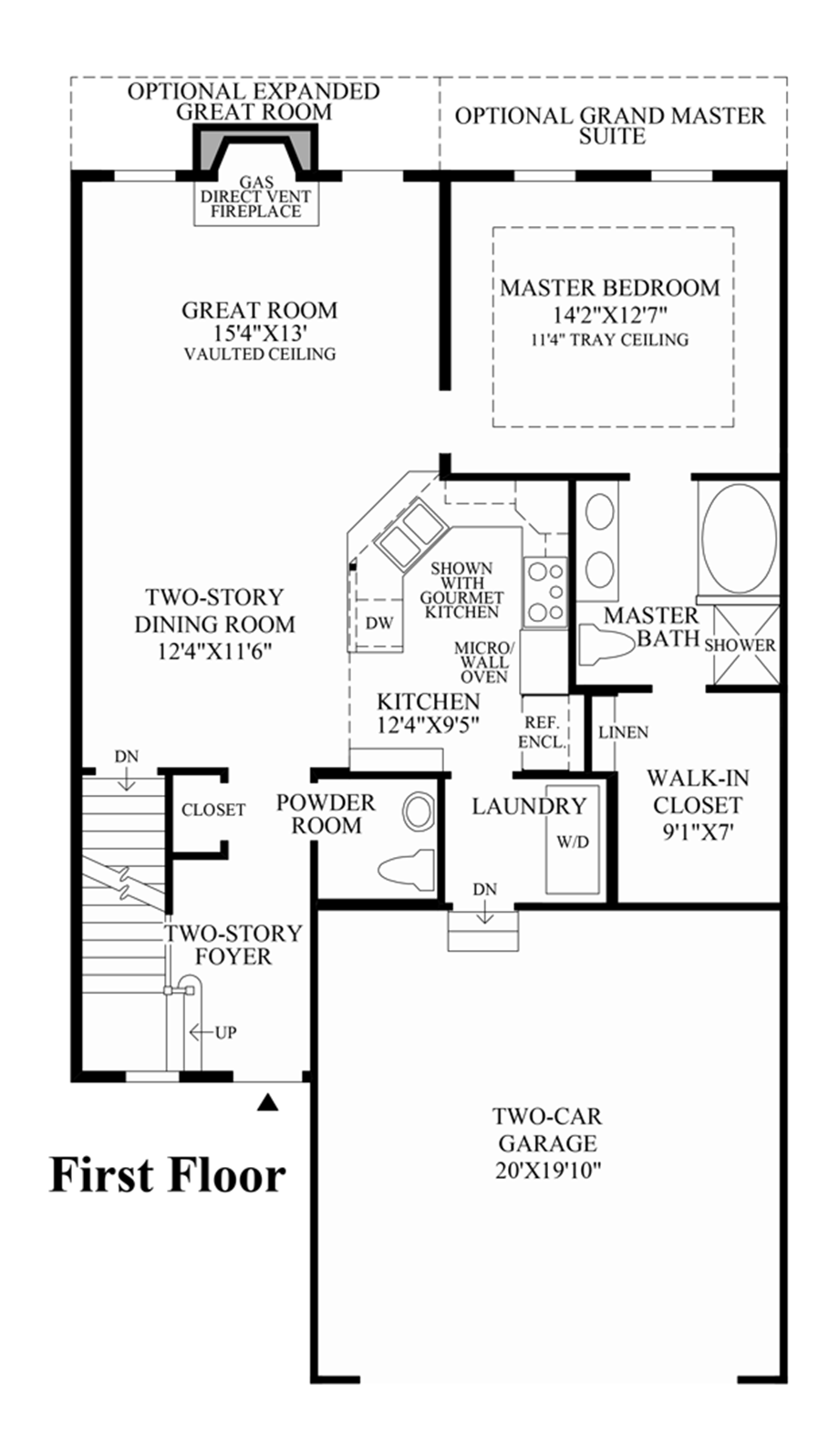 Newtown woods townhome collection the hickory home design for Townhomes with first floor master