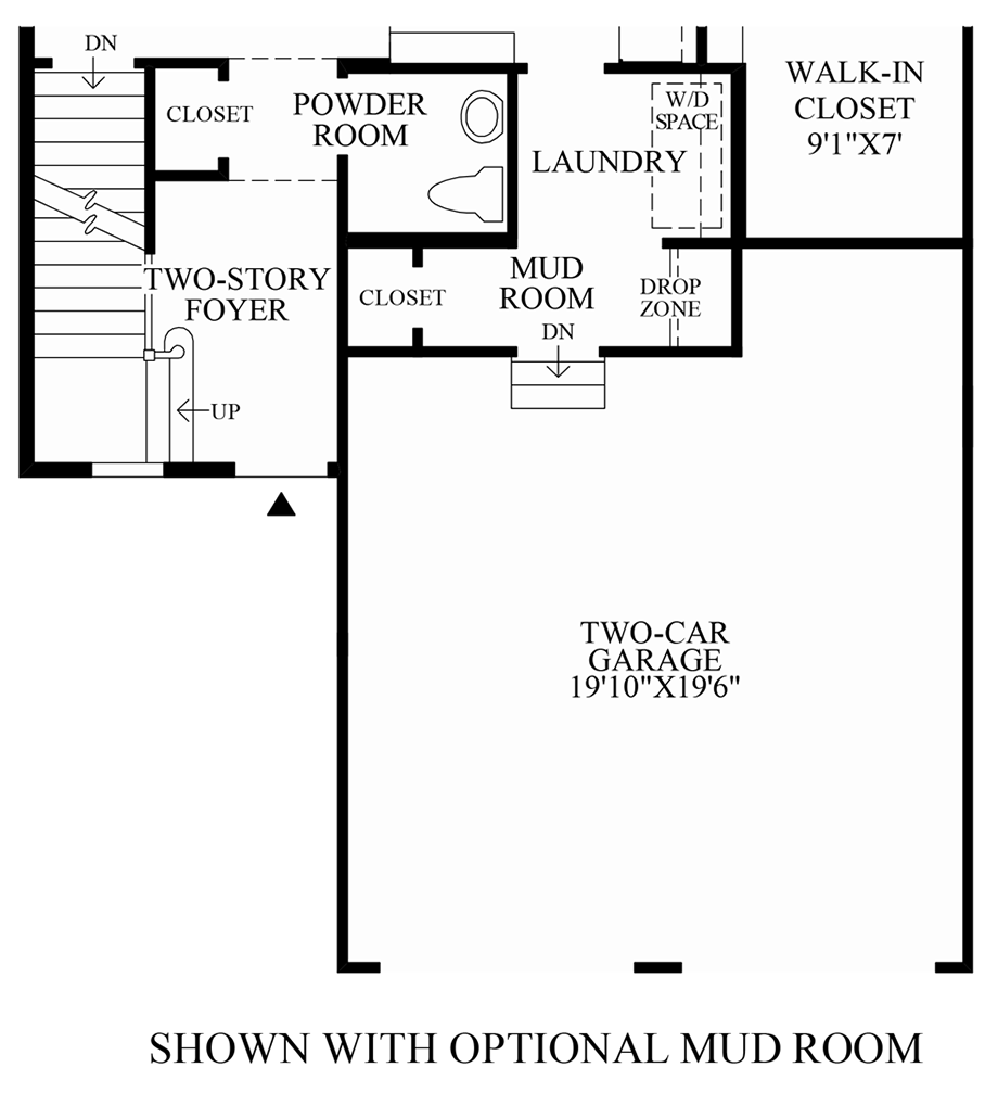 Optional Mud Room Floor Plan