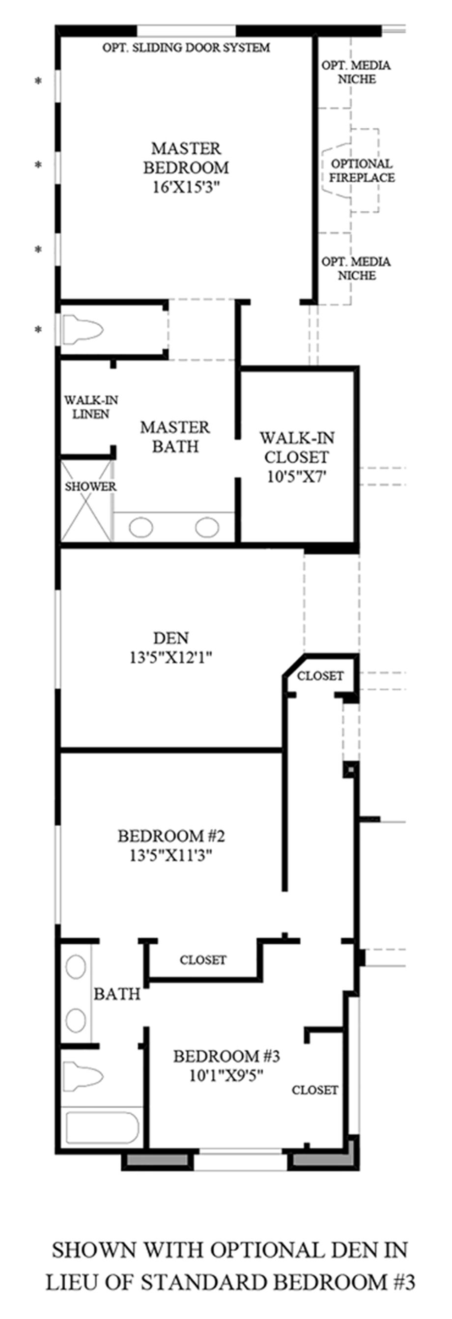 Optional Den ILO Standard Bedroom #3 Floor Plan
