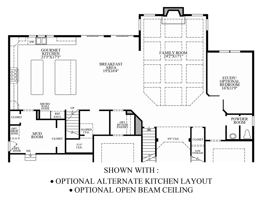 Optional Alternate Kitchen Layout & Open Beam Ceiling Floor Plan