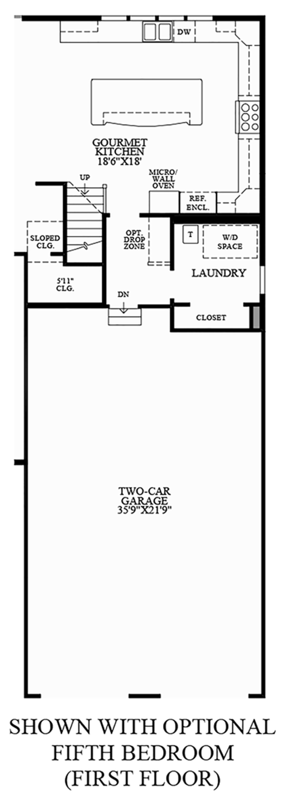 Optional Fifth Bedroom (First Floor) Floor Plan