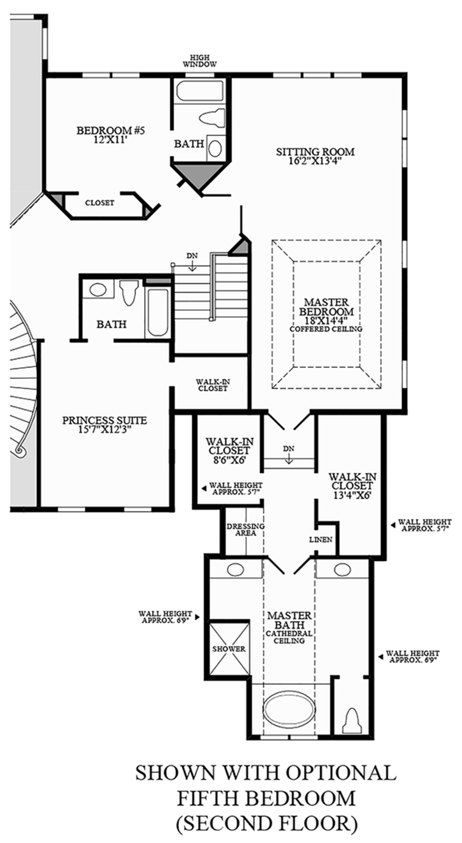 Optional Fifth Bedroom (Second Floor) Floor Plan