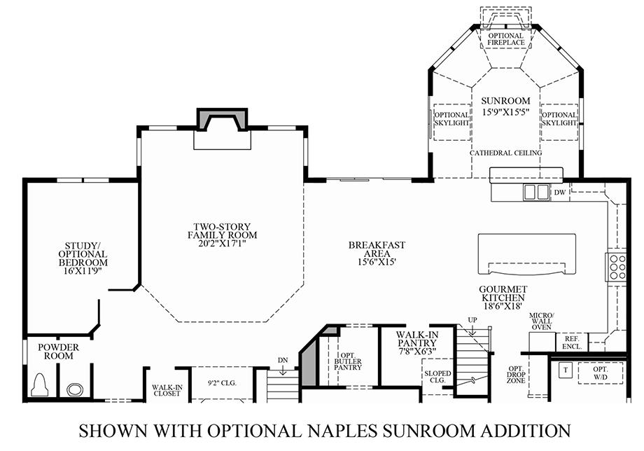 Optional Naples Sunroom Addition Floor Plan