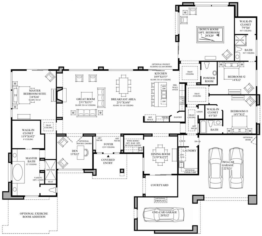 Contemporary floor plan modern house for Modern home floor plans