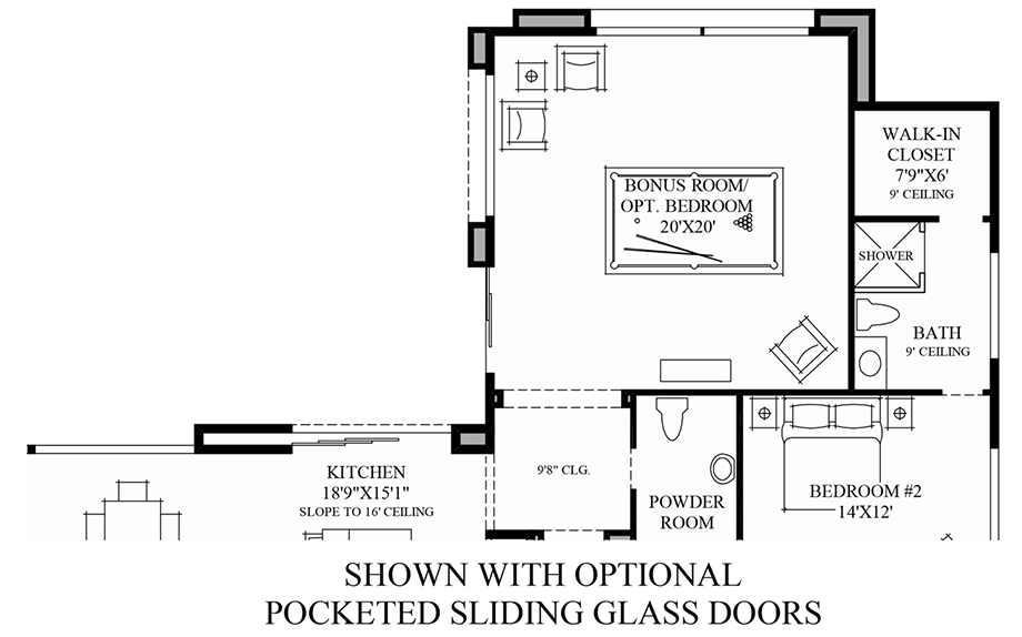 Optional Pocketed Sliding Glass Doors Floor Plan