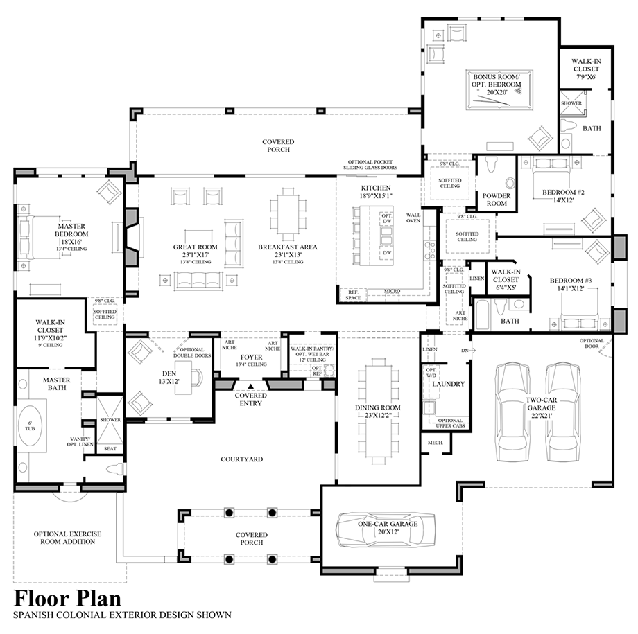 Floor Plan - Spanish Colonial Exterior Design Floor Plan
