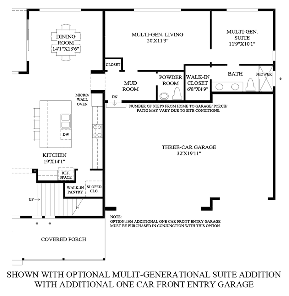 Optional Multi-Generational Suite Addition with Additional One Car Front Entry Garage Floor Plan