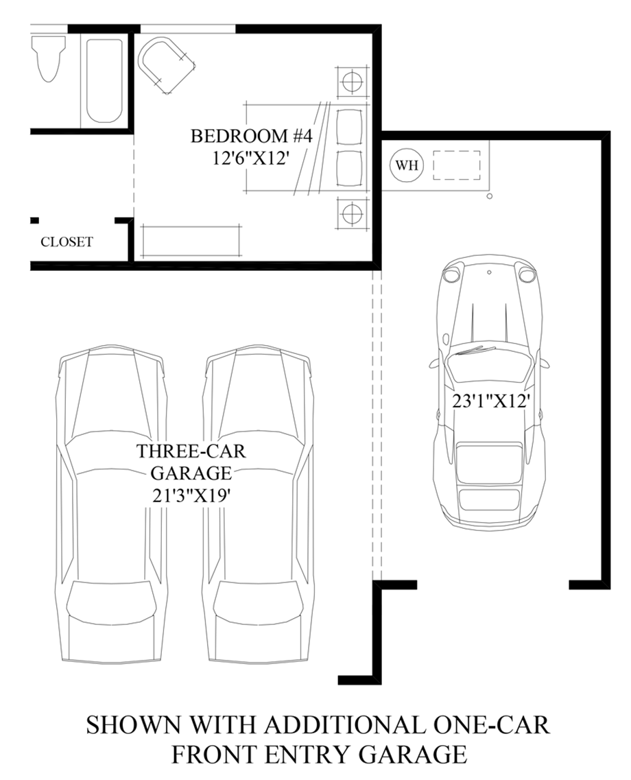 Optional Additional One-Car Front Entry Garage Floor Plan
