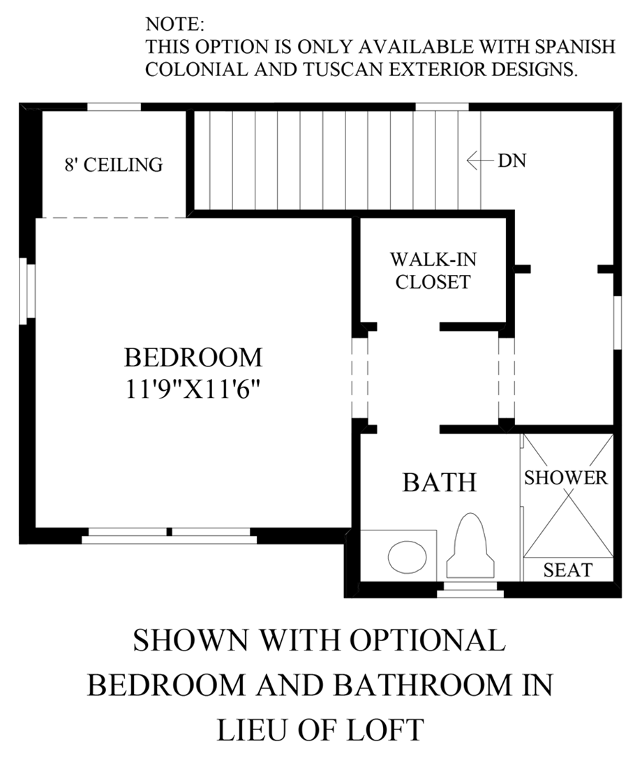 Optional Bedroom and Bathroom ILO Loft Floor Plan