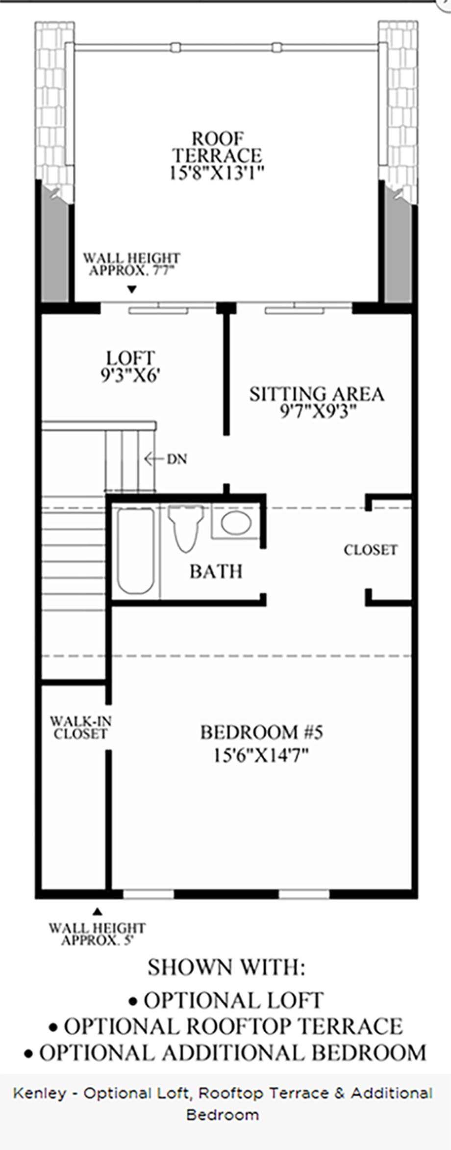 Optional Loft, Rooftop Terrace & Additional Bedroom Floor Plan