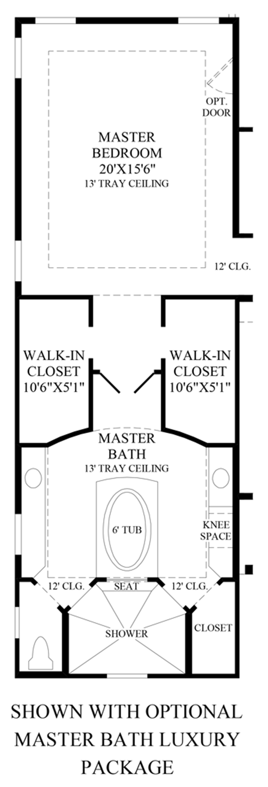 Optional Master Bath Luxury Package Floor Plan