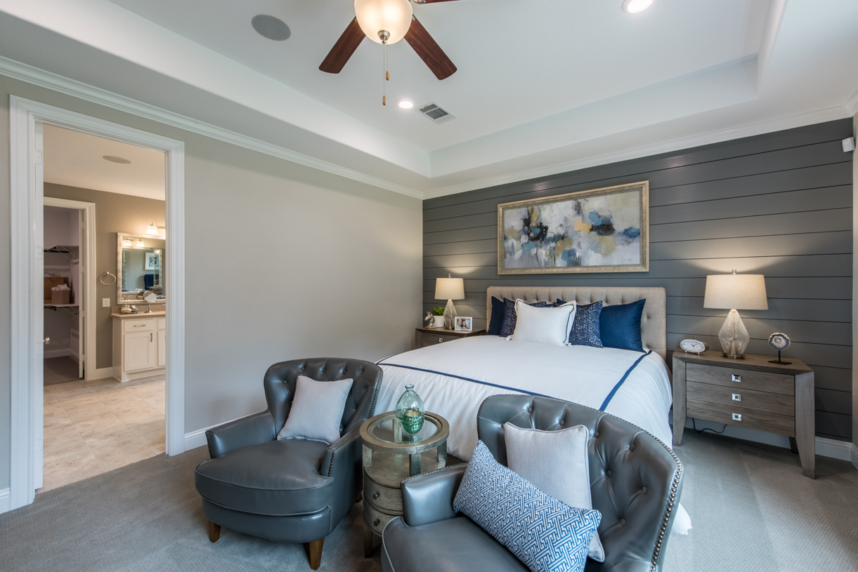 Spacious primary bedroom suite with tray ceiling