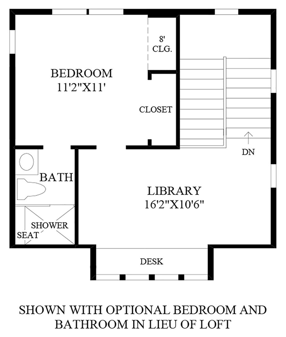 Optional Bedroom and Bathroom In Lieu of Loft Floor Plan