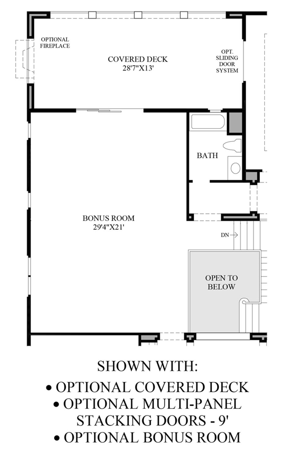 Optional Covered Deck, Multi-Panel Stacking Doors and Bonus Room Floor Plan