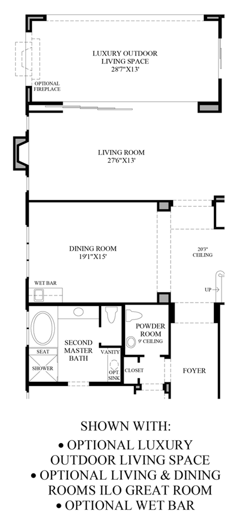 Optional Luxury Outdoor Living Space, Living & Dining Rooms ILO Great Room and Wet Bar Floor Plan