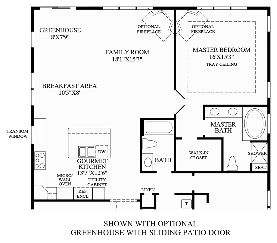 Optional Greenhouse w/ Sliding Patio Door Floor Plan