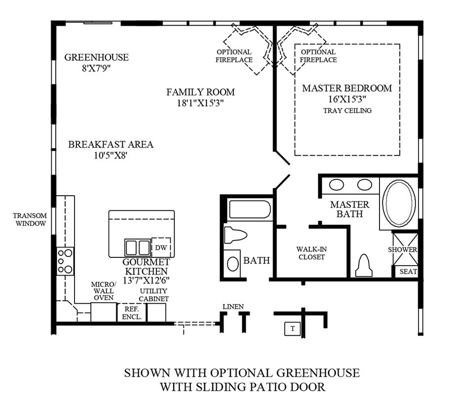 Optional Greenhouse w/ Sliding Patio Door Floor Plan