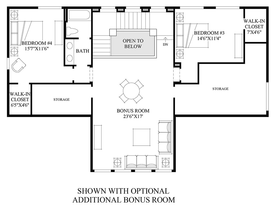 Optional Additional Bonus Room Floor Plan