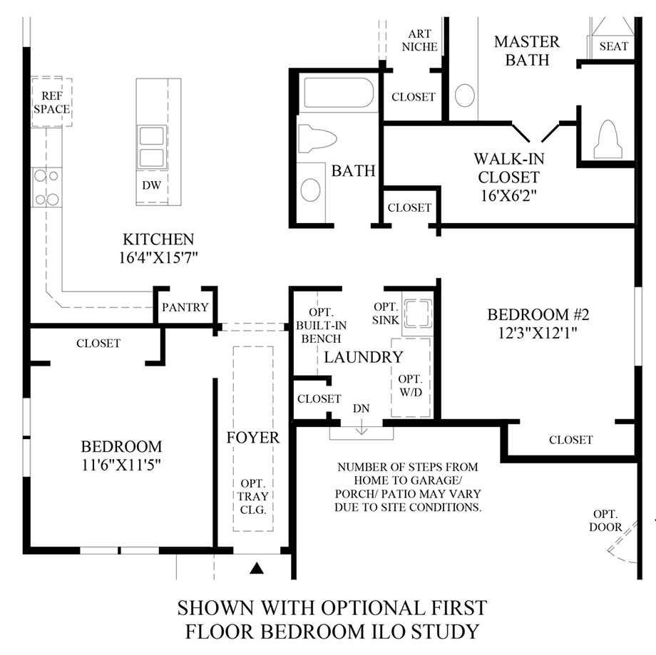 Optional 1st Floor Bedroom ILO Study Floor Plan
