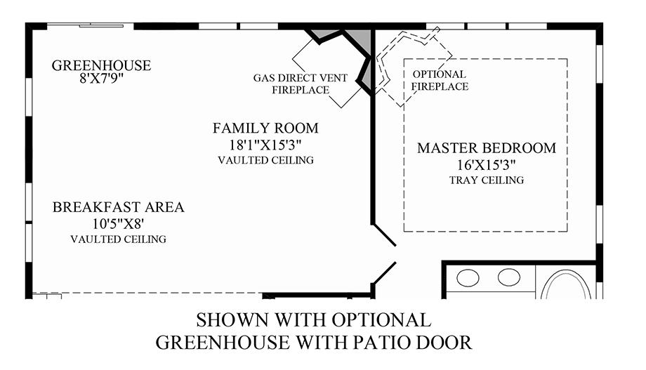 Optional Greenhouse/Alternate Family Room Floor Plan
