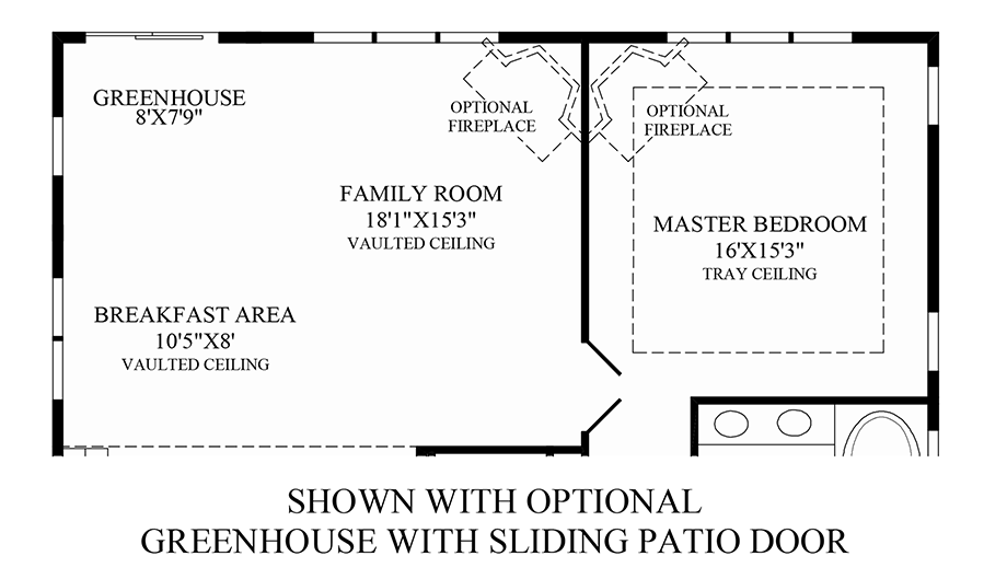 Optional Greenhouse with Sliding Patio Door Floor Plan