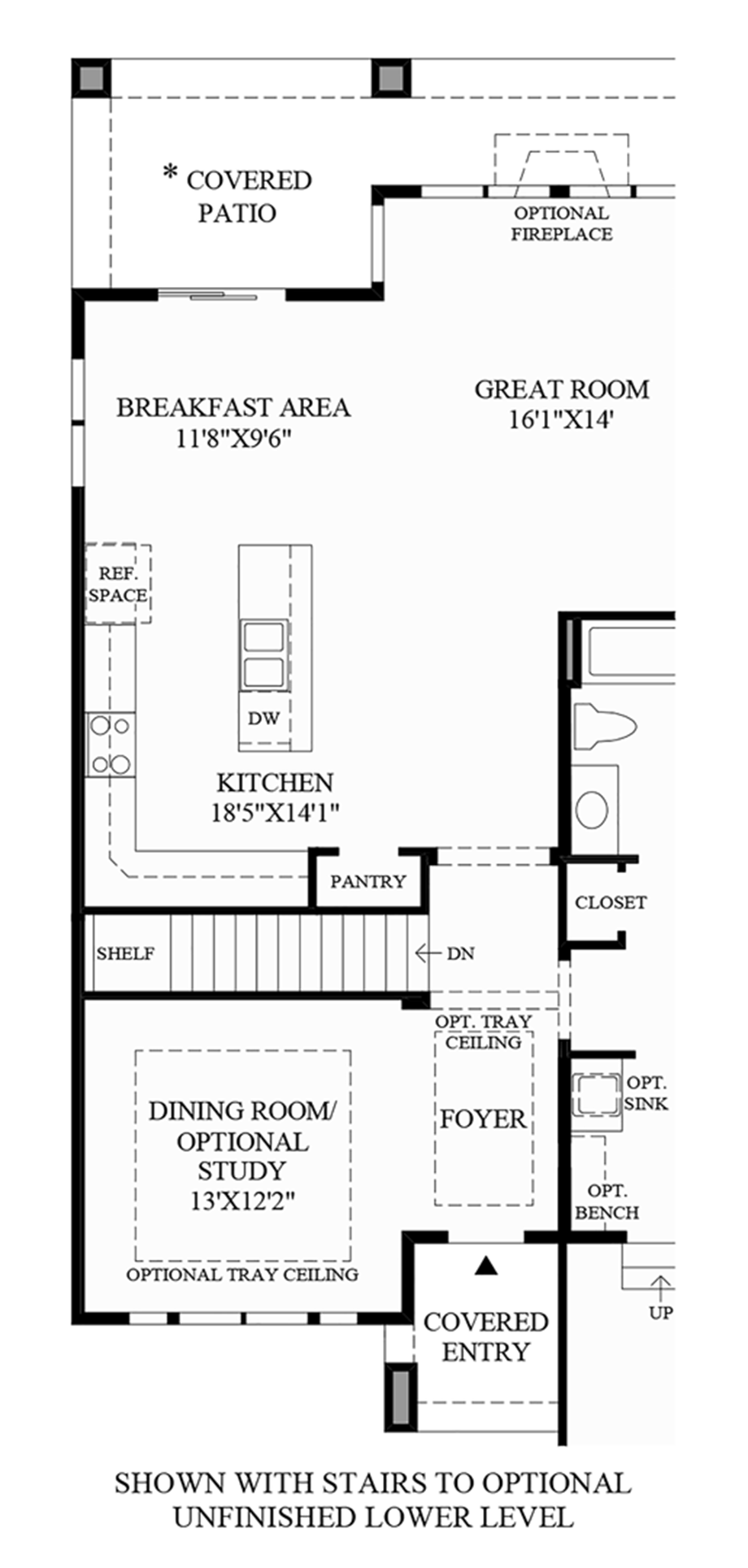 Stairs to Optional Unfinished Lower Level Floor Plan