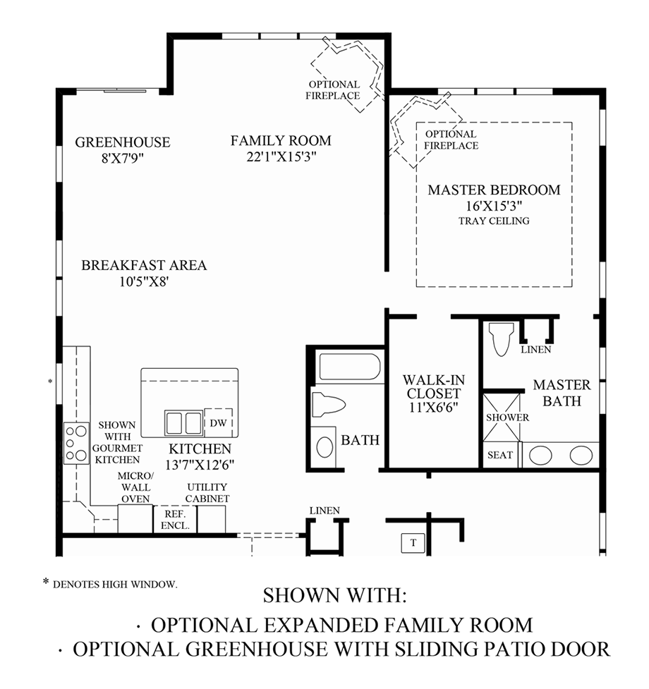 Optional Expanded Family Room & Greenhouse w/ Sliding Patio Door Floor Plan