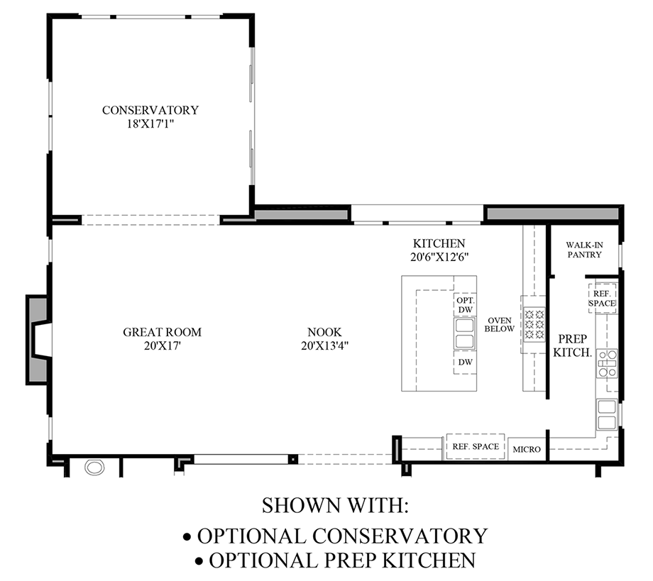 Optional Conservatory & Prep Kitchen Floor Plan