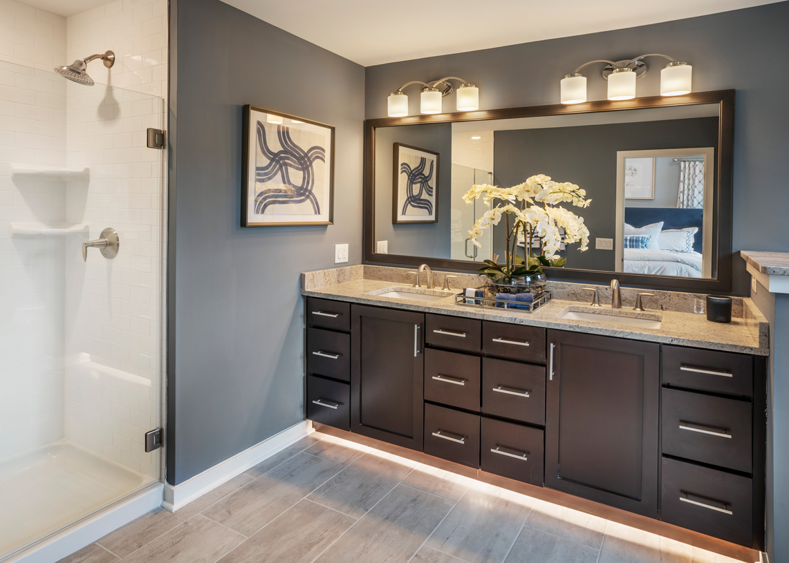 Dual-sink vanity and shower in primary bath