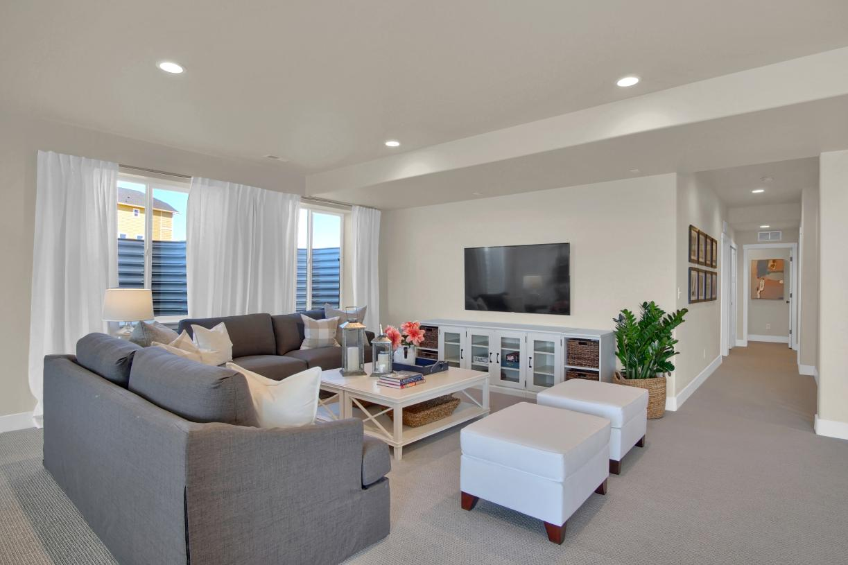 Create a weekend family retreat at home with the lower level flex space
