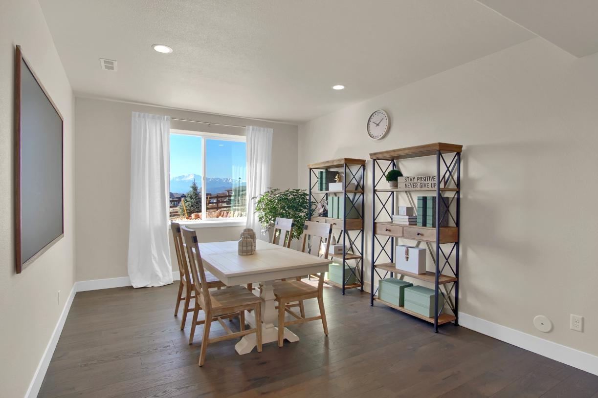An additional lower level flex space provides a homework spot or area for family game nights