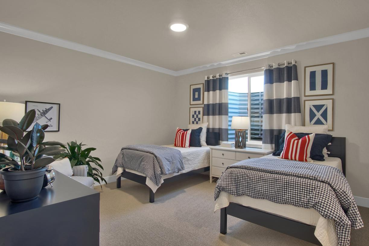 One of the large lower level bedrooms