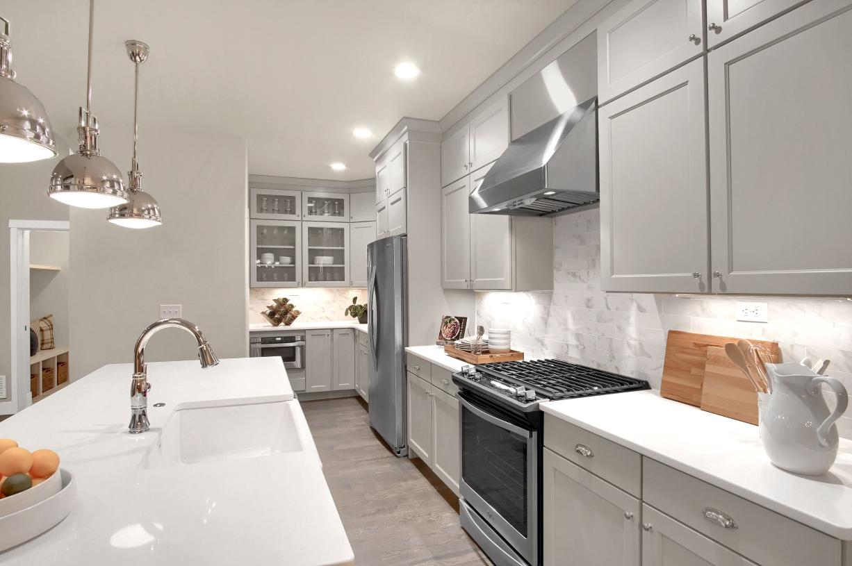 A cook's dream with extensive countertop space for easy prep