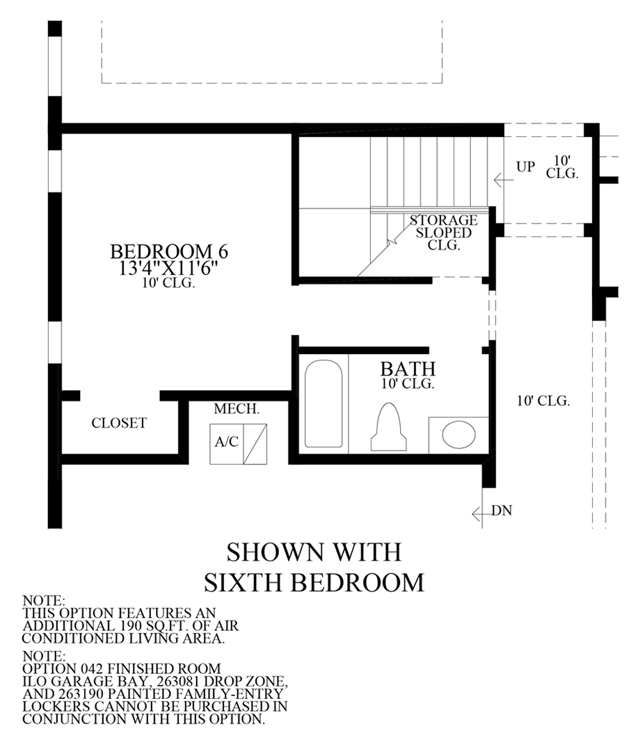 Optional 6th Bedroom Floor Plan