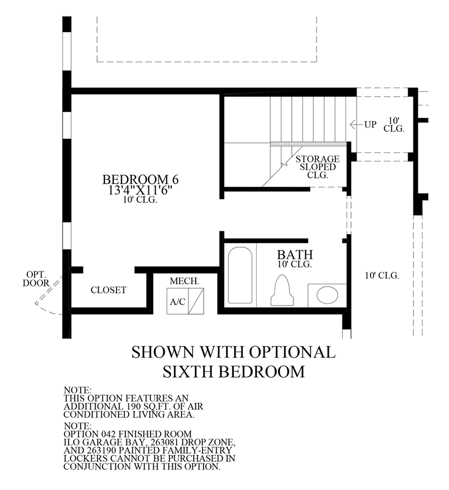 Optional 6th Bedroom Floor Plan