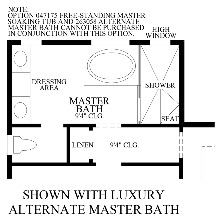 Optional Alternate Luxury Master Bath Floor Plan