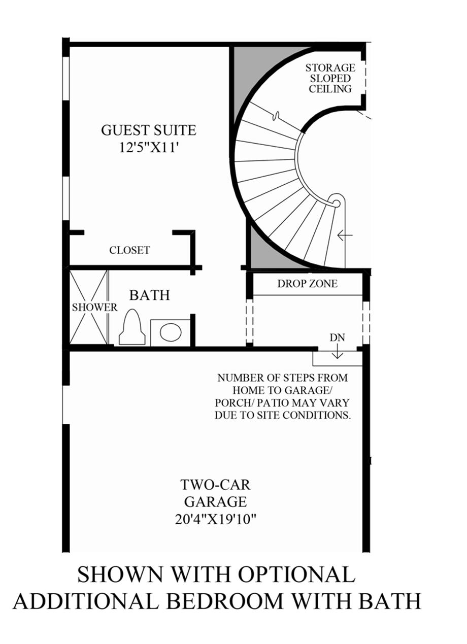 Optional Additional Bedroom with Bath Floor Plan