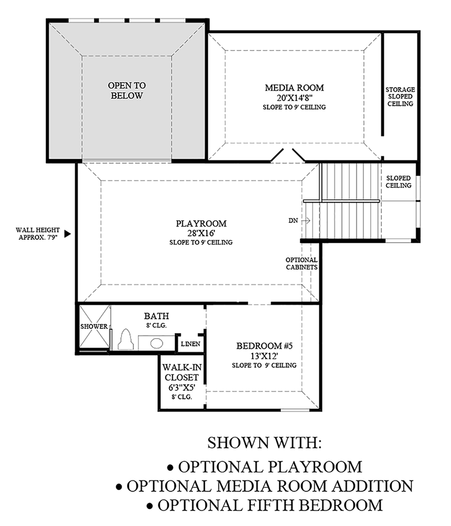 Optional Playroom, Media Room Addition, and Fifth Bedroom Floor Plan