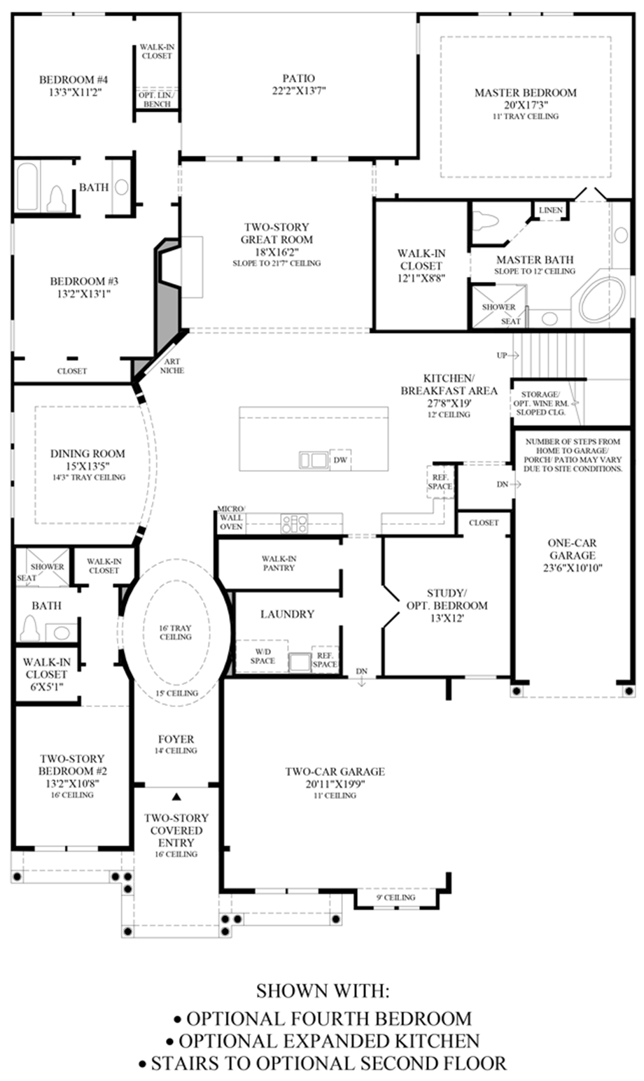 Optional 4th Bedroom/Expanded Kitchen/Stairs Floor Plan