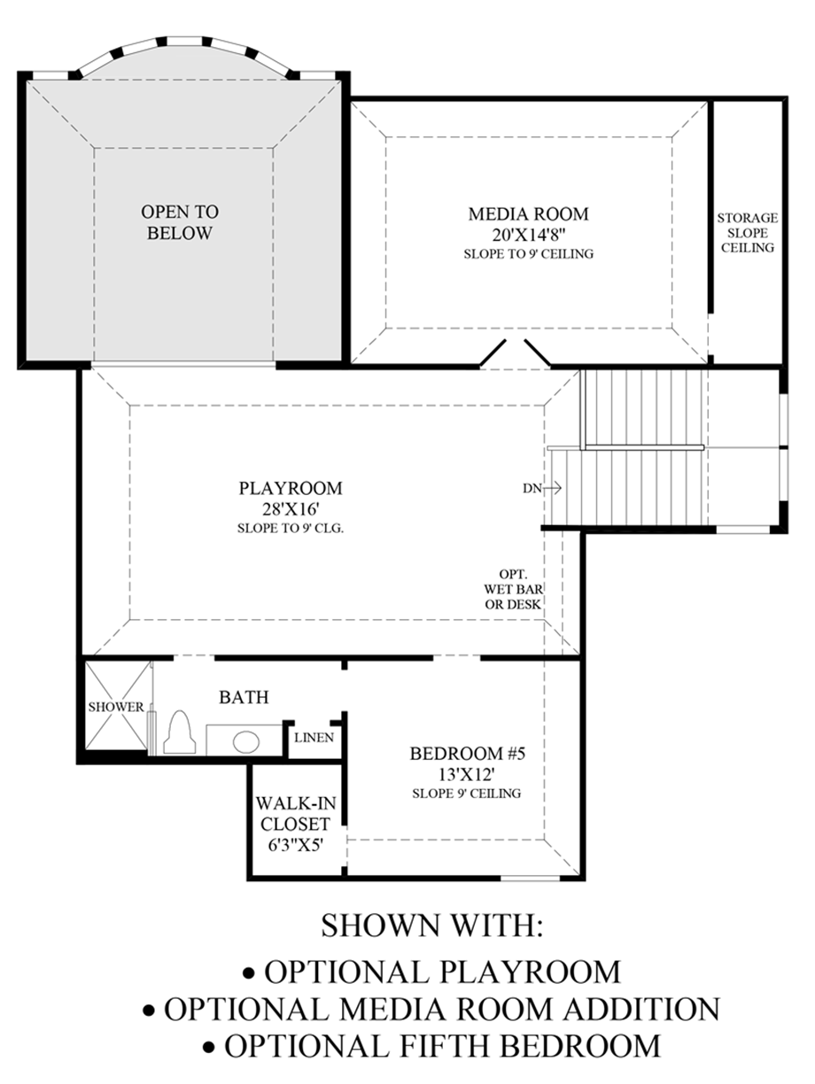 Optional Playroom, Media Room Addition & 5th Bedroom Floor Plan