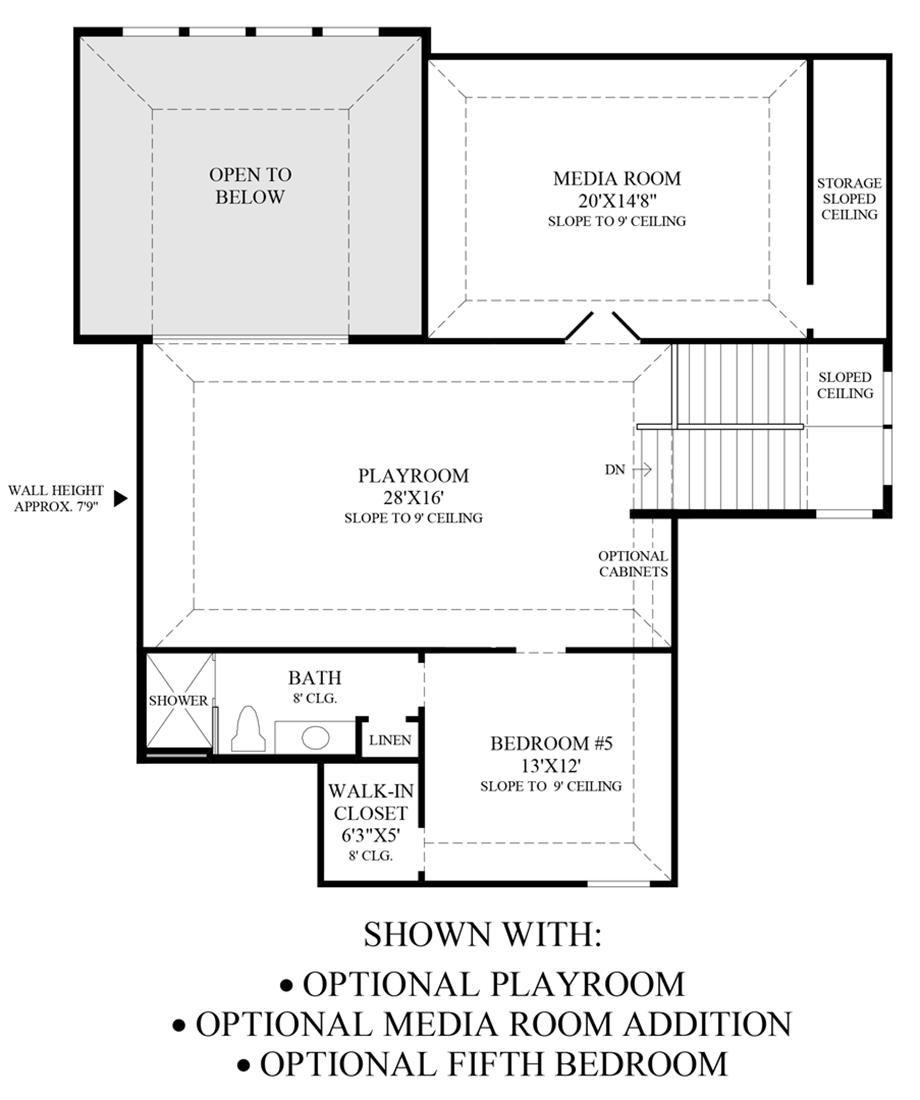 Optional Playroom, Media Room Addition & 5th Bedroom Floor Plan