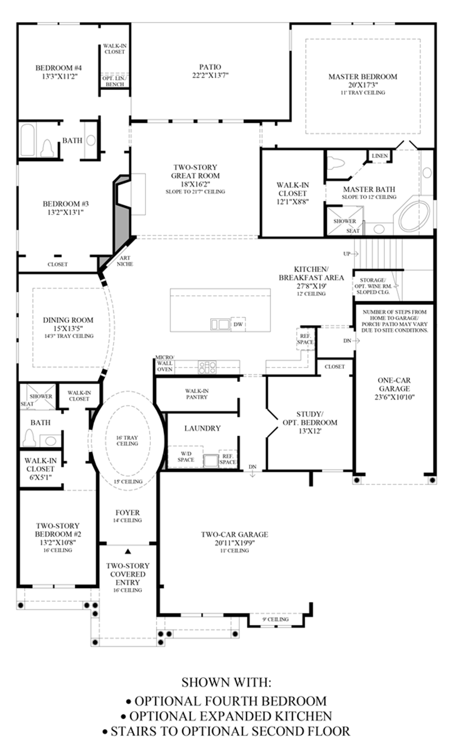 Optional Stairs to 2nd Floor, Expanded Kitchen & 4th Bedroom Floor Plan