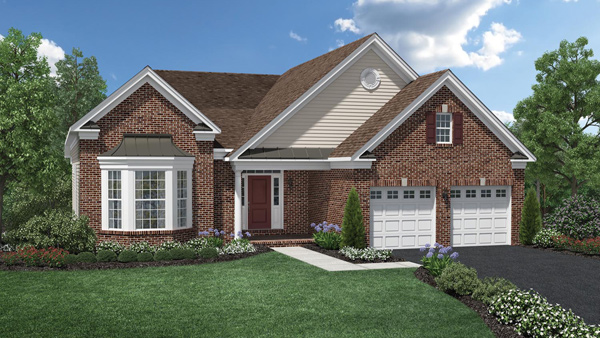Image of the Marshall home design with tan siding and brick finish located in the Regency at Monroe Community