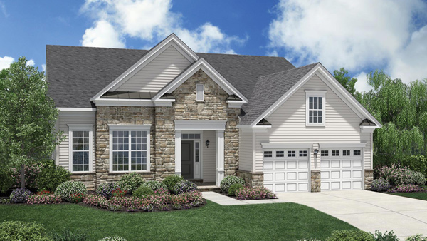 Image of the Merrimack home design with white siding and tan stone finish located in the Regency at Monroe Community