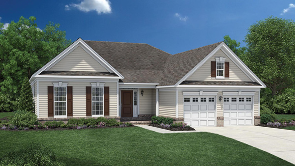 Image of the Marshall home design with tan siding located in the Regency at Monroe Community